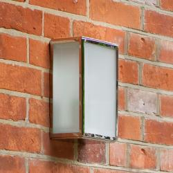 Homefield Frosted Exterior Wall Light in Polished Nickel