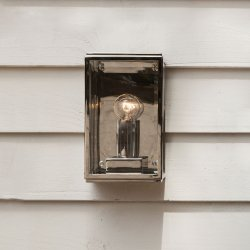 Homefield 130 Exterior Wall Light in Polished Nickel