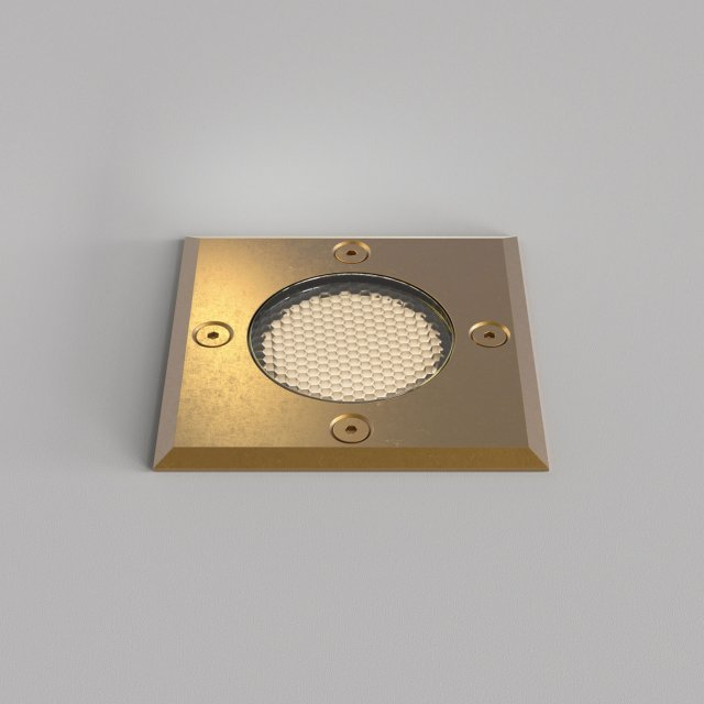 Gramos Square Ground Light in Natural Brass