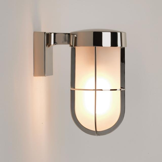 Cabin Frosted Wall Exterior Wall Light in Polished Nickel