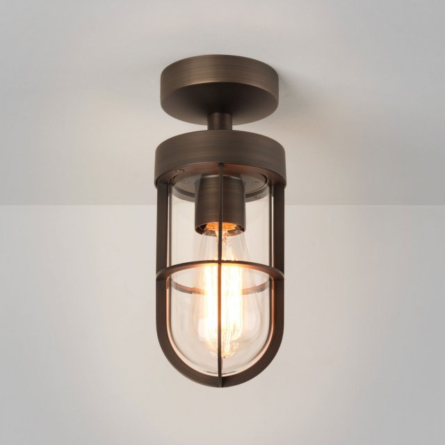 Cabin Semi Flush Ceiling Light in Bronze