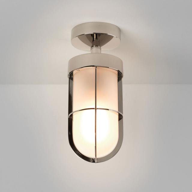 Cabin Semi Flush Frosted Ceiling Light in Polished Nickel