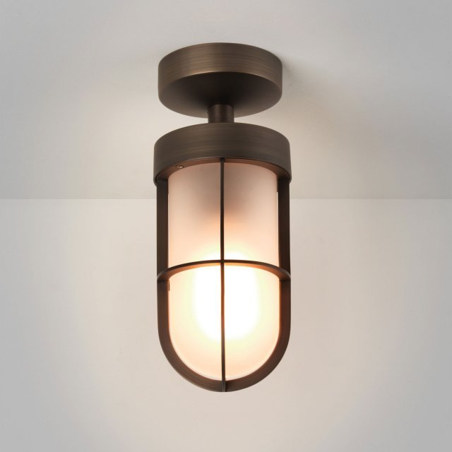 Cabin Frosted Semi Flush Ceiling Light in Bronze