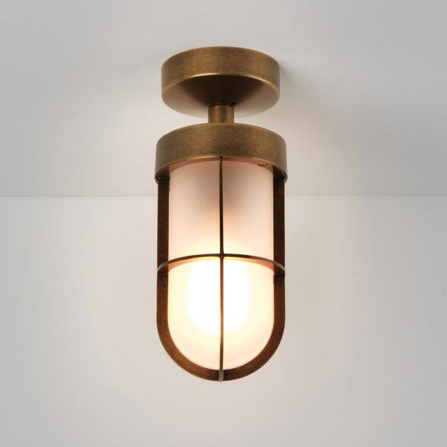 Cabin Semi Flush Frosted Ceiling Light in Antique Brass