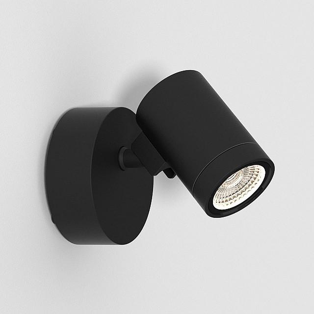 Bayville Single Spot Exterior Wall Light in Textured Black