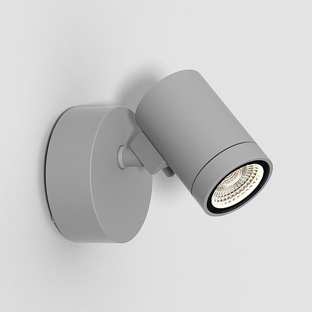Bayville Single Spot Exterior Wall Light in Textured Grey