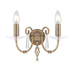 Aegean 2 Light Wall Light - Aged Brass