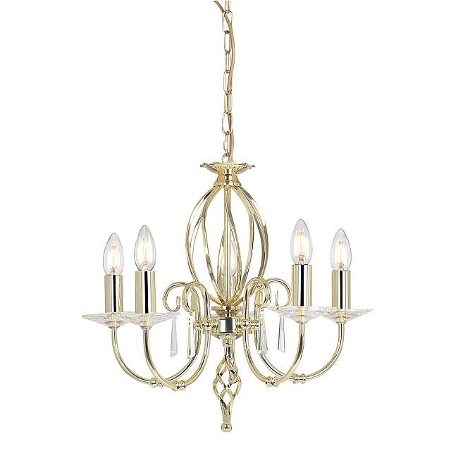 Aegean 5 Light Chandelier - Polished Brass