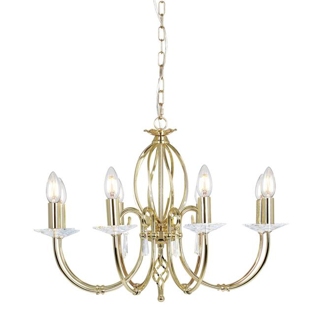 Aegean 8 Light Chandelier - Polished Brass