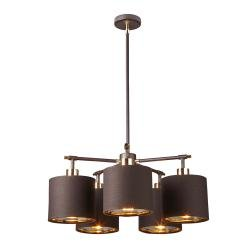 Balance 5 Light Chandelier - Brown and Polished Brass
