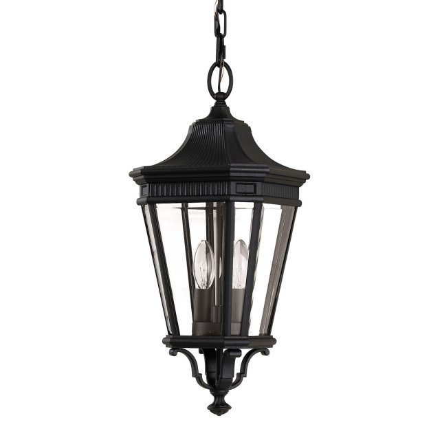 Cotswold Lane 2 Light Medium Chain Lantern - Black