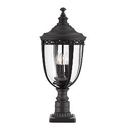 English Bridle 3 Light Large Pedestal - Black