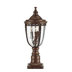 English Bridle 3 Light Medium Pedestal - British Bronze