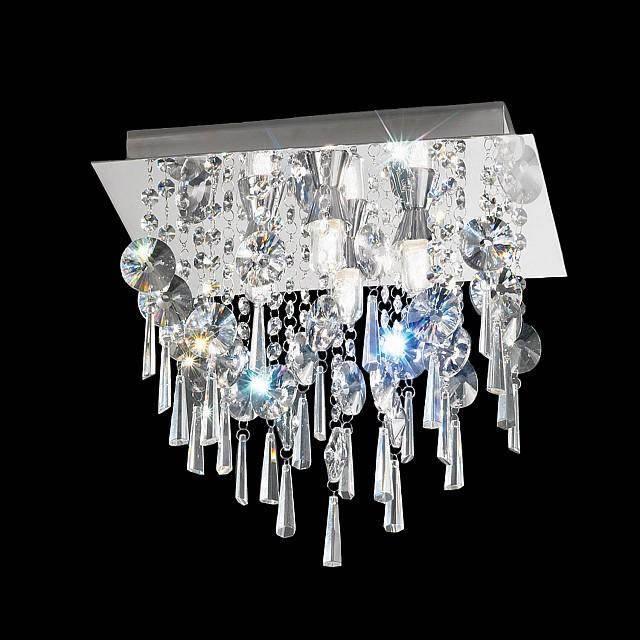 350mm Square Flush IP44 Crystal Chrome Finish