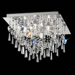 450mm Square Flush IP44 Crystal Chrome Finish