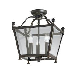 Atrio 3 light Flush Lantern Antique Bronze Finish