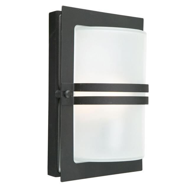 Basel 1 Light Wall Lantern - Black With Frosted Glass