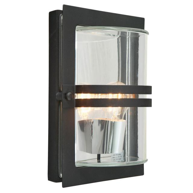 Basel 1 Light Wall Lantern - Black With Clear Glass