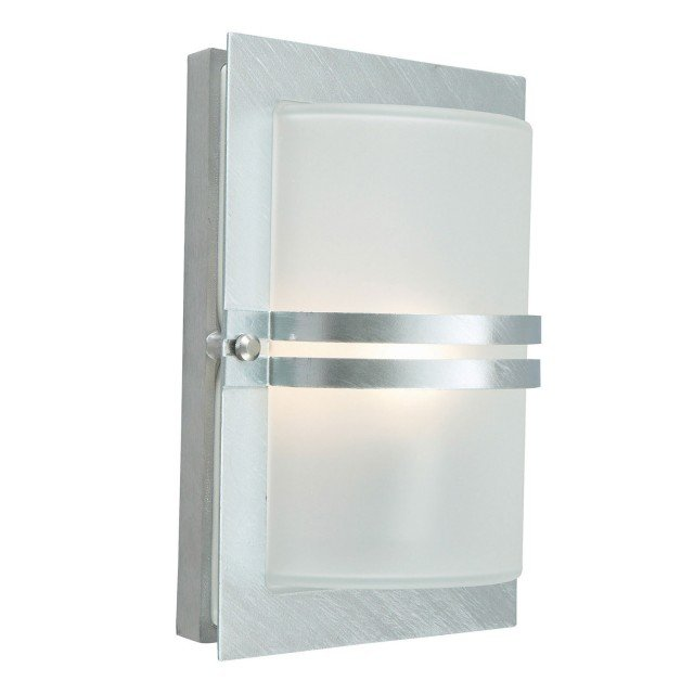 Basel 1 Light Wall Lantern - Galvanised With Frosted Glass