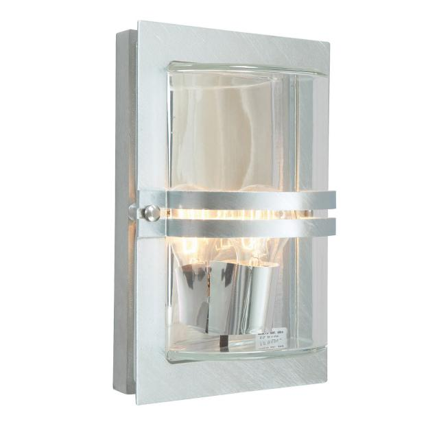 Basel 1 Light Wall Lantern - Galvanised With Clear Glass