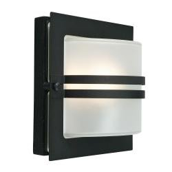 Bern 1 Light Wall Lantern - Black With Frosted Glass
