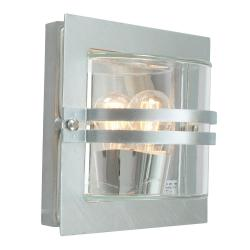 Bern 1 Light Wall Lantern - Galvanised With Frosted Glass