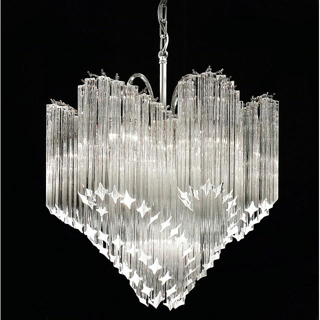 Chiocciola Chandelier with Quadriedro Murano Glass