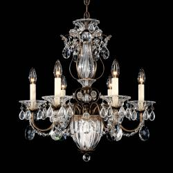 Bagatelle 7 Light Chandelier in Etruscan Gold with Clear Spectra Crystal