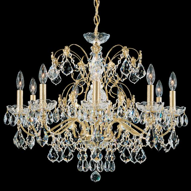 Century 9 Light Chandelier in Rich Auerelia Gold with Clear Heritage Crystal