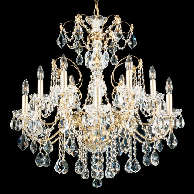 Century 12 Light Chandelier in Rich Auerelia Gold with Clear Heritage Crystal
