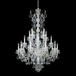 Century 20 Light Chandelier in Silver with Clear Heritage Crystal