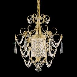 Century 1 Light Chandelier in Rich Auerelia Gold with Clear Heritage Crystal