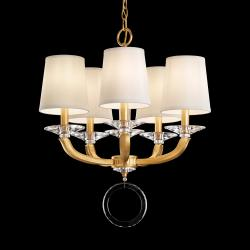 Emilea 5 Light Chandelier in Heirloom Gold with Clear Optic Crystal and Shade Hardback Off White