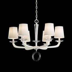 Emilea 6 Light Chandelier in White with Clear Optic Crystal and Shade Hardback Off White
