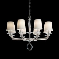 Emilea 8 Light Chandelier in Antique Silver with Clear Optic Crystal and Shade Hardback Off White