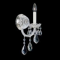 Olde World 1 Light Wall Sconce in Silver with Clear Crystals From Swarovski