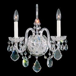 Olde World 2 Light Wall Sconce in Silver with Clear Crystals From Swarovski