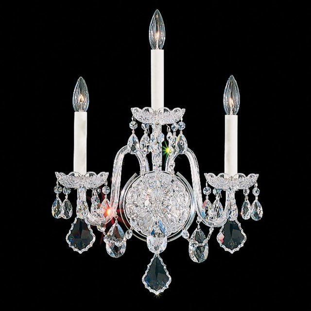 Olde World 3 Light Wall Sconce in Silver with Clear Crystals From Swarovski