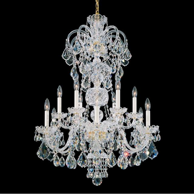 Olde World 12 Light Chandelier in Rich Auerelia Gold with Clear Spectra Crystal