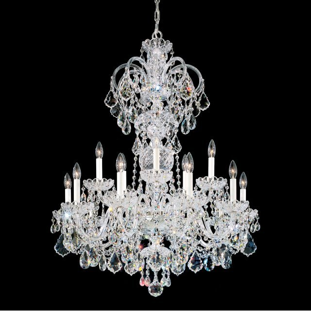 Olde World 15 Light Chandelier in Silver with Clear Crystals From Swarovski