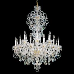 Olde World 23 Light Chandelier in Rich Auerelia Gold with Clear Spectra Crystal