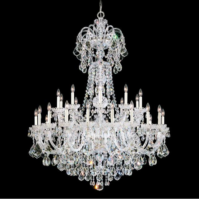 Olde World 35 Light Chandelier in Silver with Clear Crystals From Swarovski