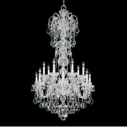 Olde World 14 Light Chandelier in Silver with Clear Crystals From Swarovski