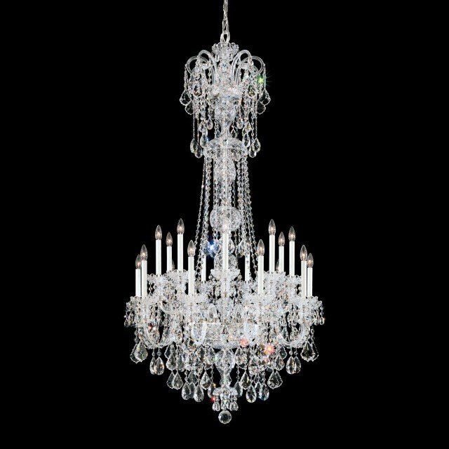 Olde World 23 Light Chandelier in Silver with Clear Crystals From Swarovski
