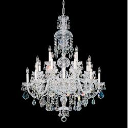 Olde World 25 Light Chandelier in Silver with Clear Crystals From Swarovski