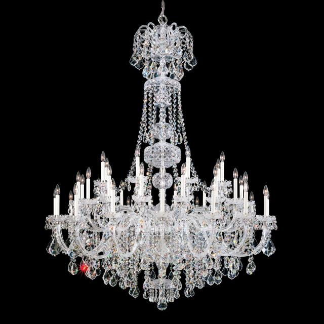 Olde World 45 Light Chandelier in Silver with Clear Crystals From Swarovski