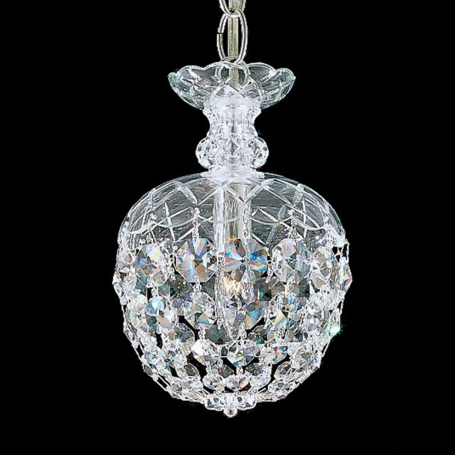 Olde World 1 Light Chandelier in Silver with Clear Crystals From Swarovski