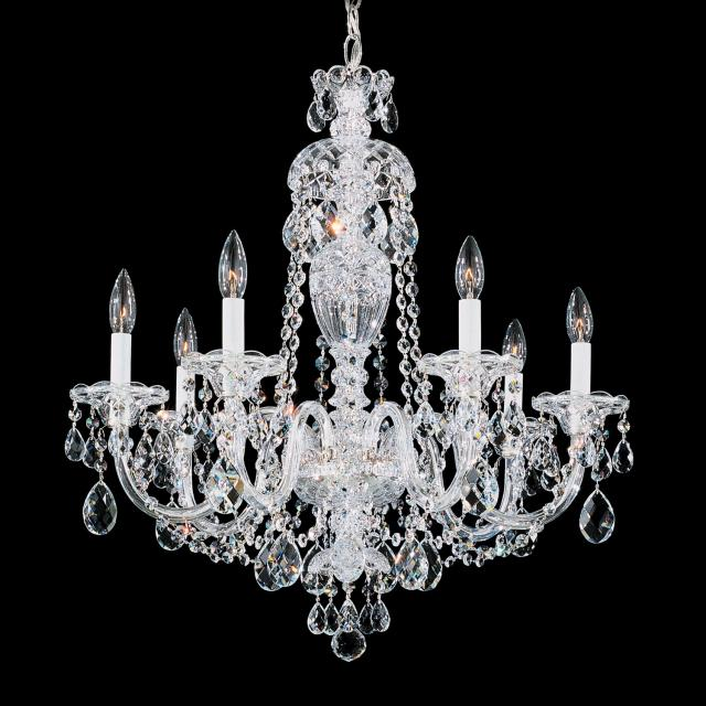 Sterling 7 Light Chandelier in Silver with Clear Heritage Crystal