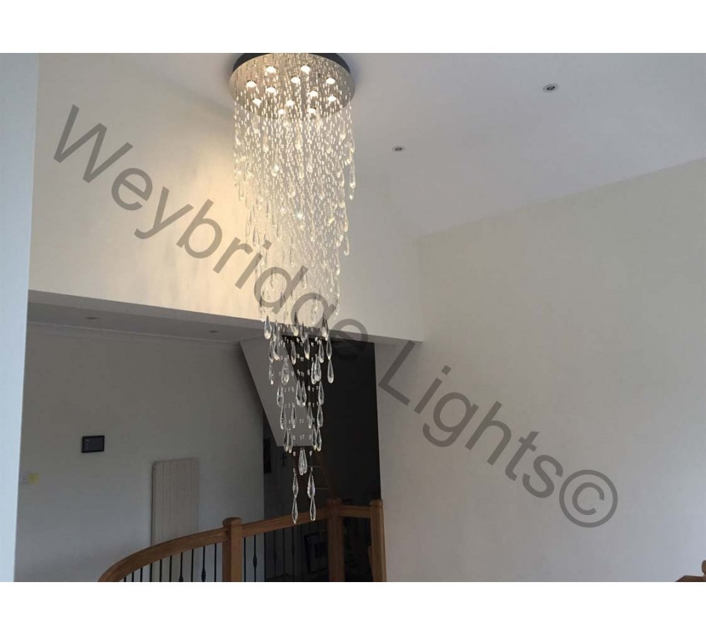 2.8m Contemporary Crystal Chandelier - Private Residence Cobham 2017