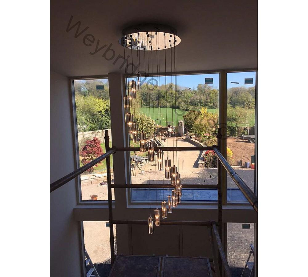 Modern Crystal Stairwell Light - Farnham